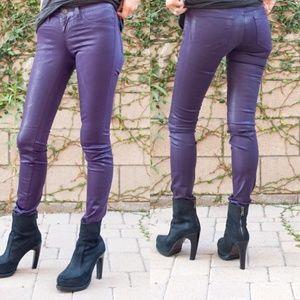J Brand Purple Coated Jean Leggings / Jeggings